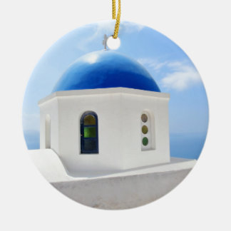Greek orthodox church in Santorini island, Greece Ceramic Ornament