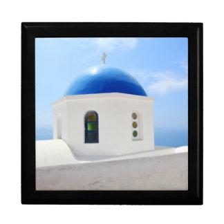 Greek orthodox church in Santorini island, Greece Jewelry Box