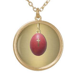 Greek Orthodox Easter Egg Round Pendant Necklace
