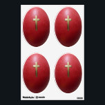 """Greek Orthodox Easter Eggs Wall Sticker<br><div class=""""desc"""">Brighten your Easter decor with this wall decal with four images of a Greek Orthodox red Easter egg with a gold cross detail. Red is the color of life as well as a representation of the blood of Christ. From ancient times, the egg has been a symbol of the renewal...</div>"""