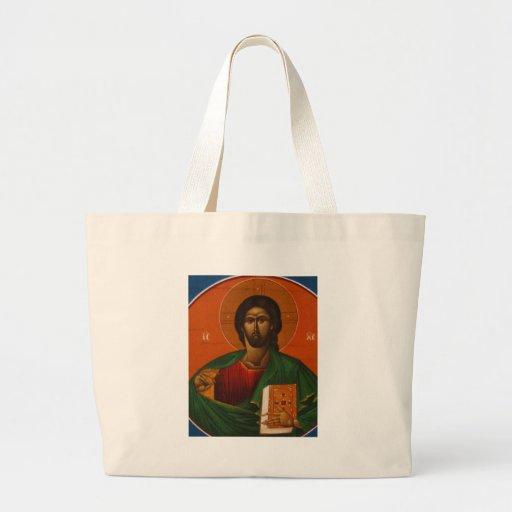 GREEK ORTHODOX ICON JESUS CHRIST CANVAS BAGS
