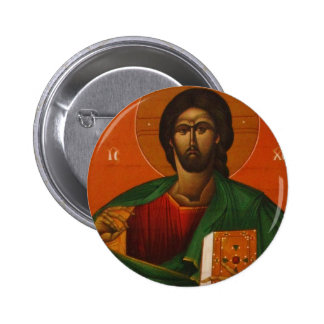 GREEK ORTHODOX ICON JESUS CHRIST PINBACK BUTTON