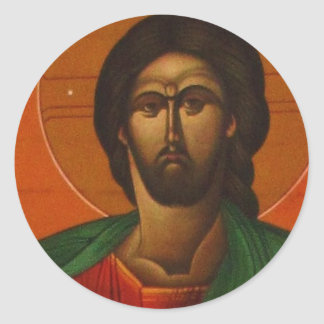 GREEK ORTHODOX ICON JESUS CHRIST CLASSIC ROUND STICKER