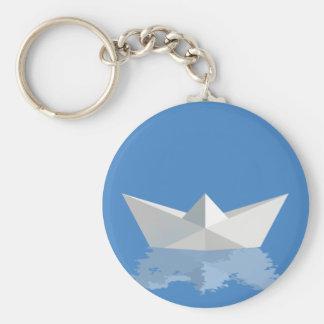 Greek PAPER BOAT Basic Round Button Keychain