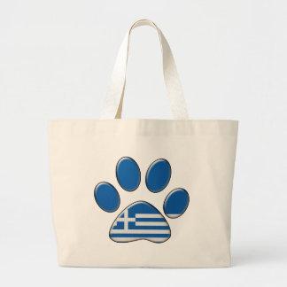 Greek patriotic cat large tote bag