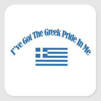 greek patriotic flag designs square sticker
