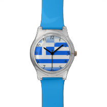 Greek polished blue and white wristwatch