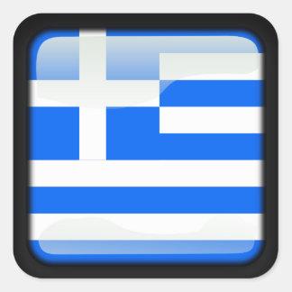 Greek polished square sticker