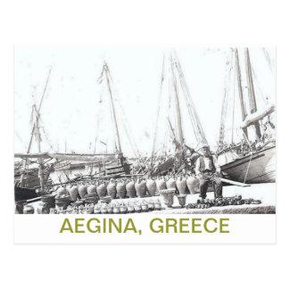GREEK POSTCARD~MAN, BOAT, AND VASES ON AEGINA