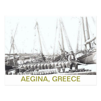 GREEK POSTCARD~MAN, BOAT, AND VASES ON AEGINA POSTCARD