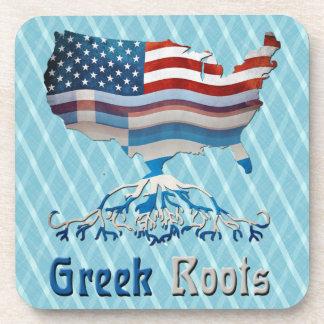 Greek Roots American Map Cork Coasters