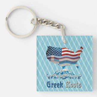 Greek Roots American Map Keyring