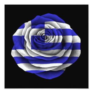 Greek Rose Flag on Black Custom Invitations