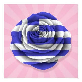 Greek Rose Flag on Pink Custom Announcements