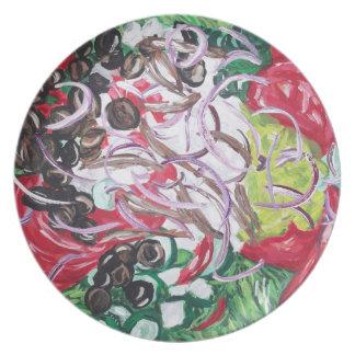 greek salad art original painting plate