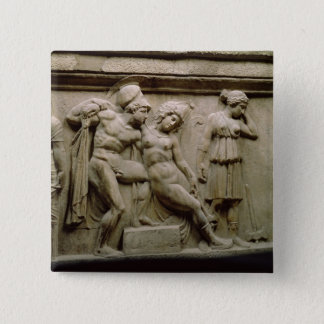 Greek Sarcophagus with a Scene showing the Battle Pinback Button
