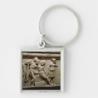 Greek Sarcophagus with a Scene showing the Battle Silver-Colored Square Keychain