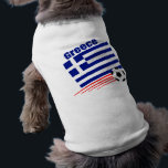 """Greek Soccer Team Shirt<br><div class=""""desc"""">Show your pride in the Greek Soccer team by buying this gift featuring the Greek flag,  the country name Greece and a soccer ball flying across the bottom of the flag</div>"""