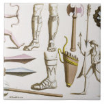 """Greek soldiers, arms and armour, plate 38 from &#39;Le Ceramic Tile<br><div class=""""desc"""">Image:222095  Greek soldiers,  arms and armour,  plate 38 from &#39;Le Costume Ancien et Moderne&#39; by Jules Ferrario,  published c.1820s-30s (colour litho). Bonatti,  D.K. (fl.1720-80) (after). Private Collection,  The Stapleton Collection.  Art,  Fine Art.</div>"""
