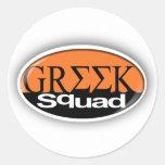 greek squad classic round sticker