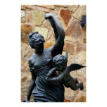 Greek statue woman with cherub posters