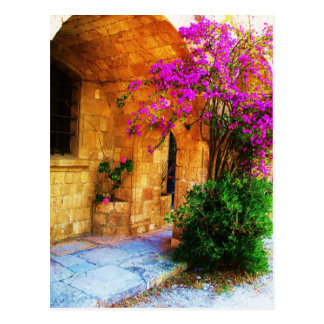 Greek stone house - old wooden door Bougainvillea Postcard