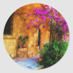 Greek stone house - old wooden door Bougainvillea Classic Round Sticker