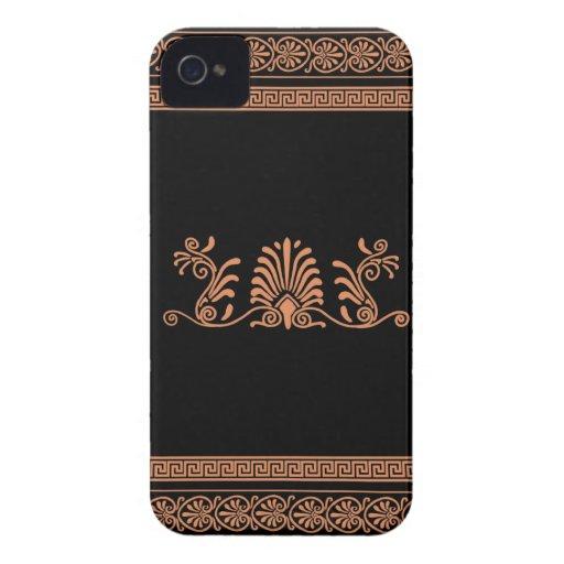 Greek Style Black and Orange Floral Design iPhone 4 Case