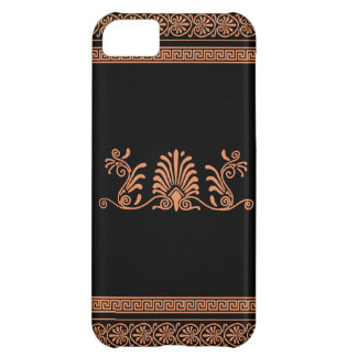Greek Style Black and Orange Floral Design iPhone 5C Covers