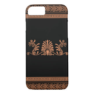 Greek Style Black and Orange Floral Design iPhone 8/7 Case