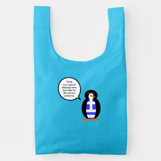 Greek Talking Penguin Flag Reusable Bag