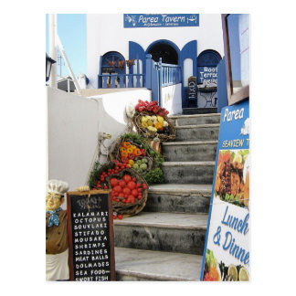 greek tavern on Santorini, Greece Postcard