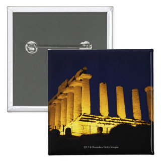 Greek Temple at Night with yellows and oranges Pinback Button