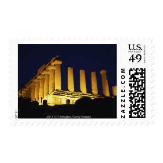 Greek Temple at Night with yellows and oranges Stamps