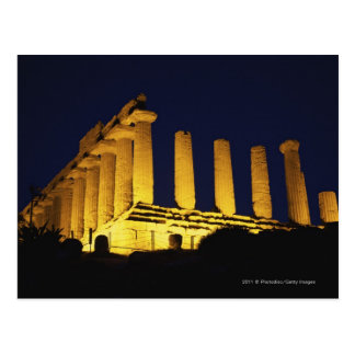 Greek Temple at Night with yellows and oranges Postcard