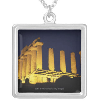 Greek Temple at Night with yellows and oranges Silver Plated Necklace