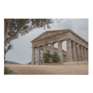 Greek temple at Segesta, Sicily Faux Canvas Print