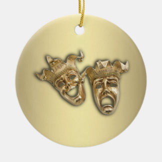 Greek Theater Masks Jesters Ceramic Ornament