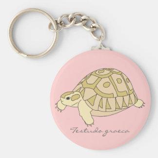 Greek Tortoise Keychain (brown w. pink)