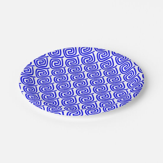 Greek Traditional Blue White Meander Fret Pattern Paper Plate