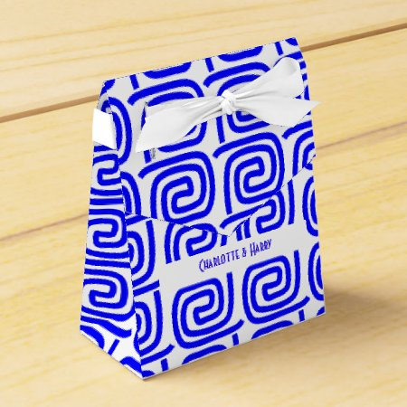 Greek Traditional Blue White Meander Personalized Favor Box