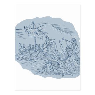 Greek Trireme Navigator Pointing Avoiding Sirens D Postcard