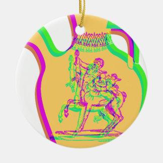 Greek Vase Double-Sided Ceramic Round Christmas Ornament