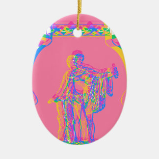 Greek Vases Double-Sided Oval Ceramic Christmas Ornament