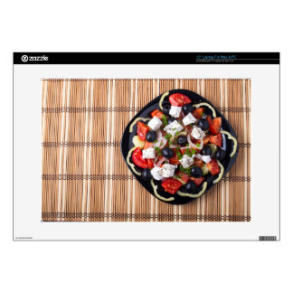 Greek vegetarian salad of tomatoes, cucumbers, oni decals for laptops