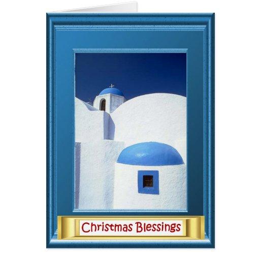 Greek village church greeting card