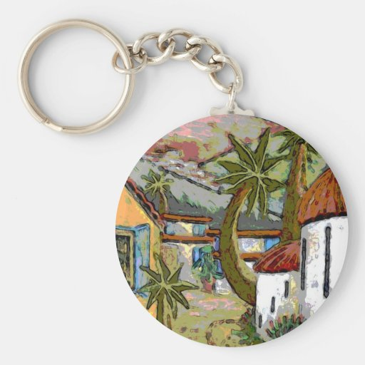 Greek Village Modern Art Custom Key Chain