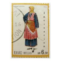 Greek Vintage Postage Stamp Invitation