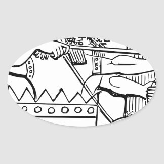 Greek Warrior Art Oval Sticker