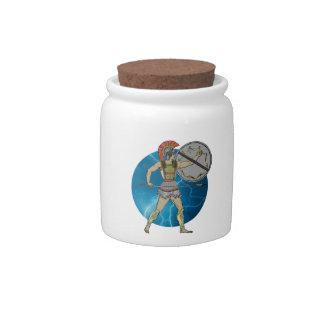 Greek Warrior Candy Jar 10z.